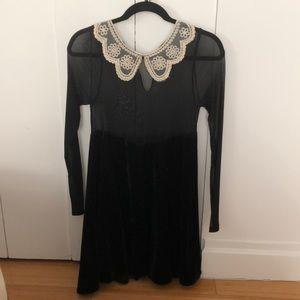 UNIF black sheer/velvet dress